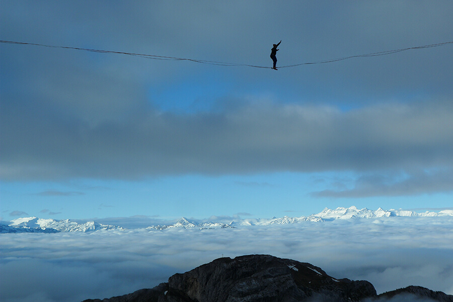 Entrainement au dessus des nuages sans balancier