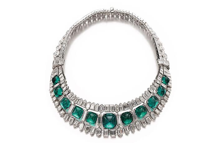 Magnifique et très important collier avec émeraudes et diamants, vers 1935