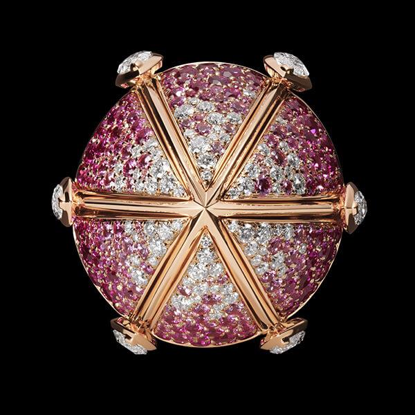 Charles Zuber Bague Pomander dégradé saphirs roses et diamants