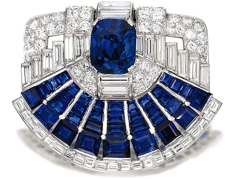 Broche clip Saphir et Diamant Cartier, 1937