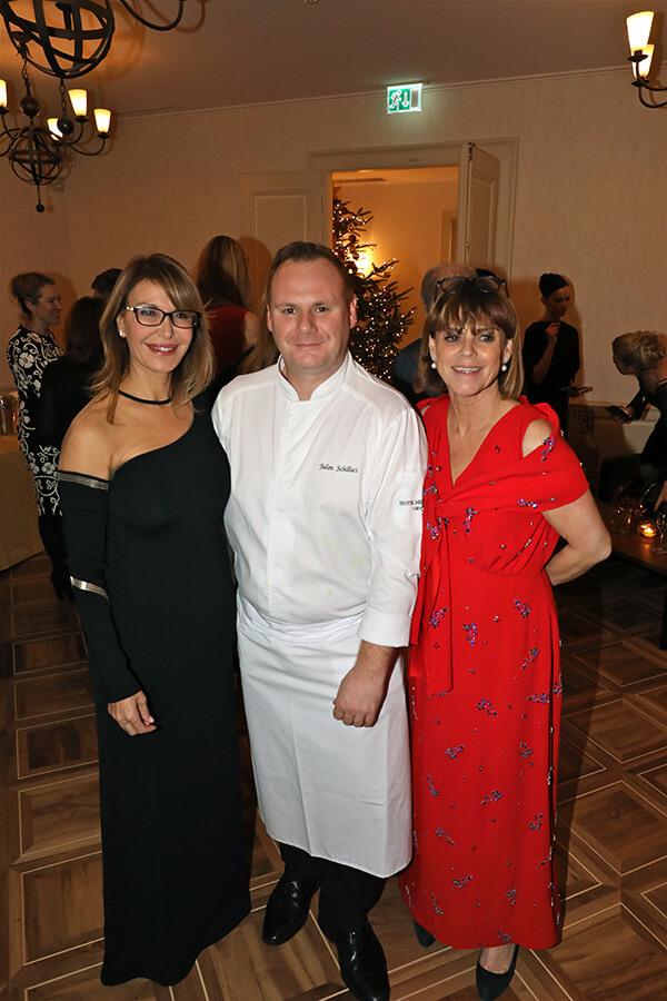 Ronit Raphael CEO de L.Raphael, le Chef Julien Schillaci de l'Hôtel Métropole et du Parc des Eaux-Vives et Hélène Lang-Lauper Dir. Générale