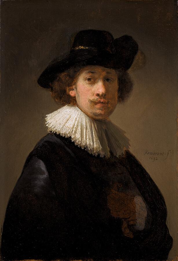 Rembrandt Van Rijn Autoportrait de l'artiste portant un jabot et un chapeau noir 1632