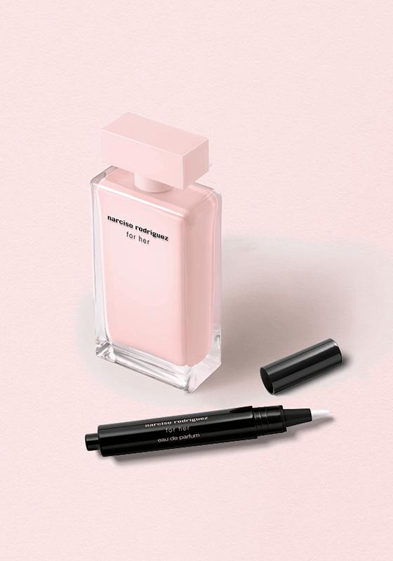for her Eau de Parfum Narciso Rodriguez et son stylo