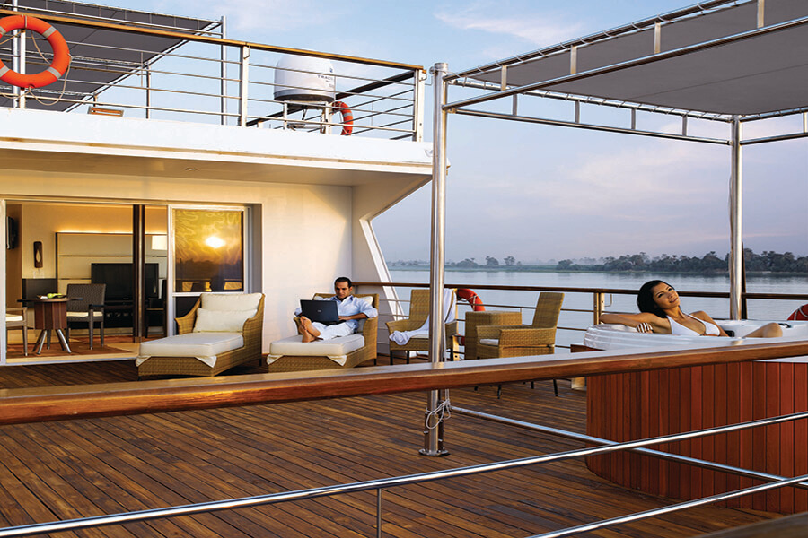 Terrace with Jacuzzi adjacent to Luxury Suite - The Oberoi Zahra, Luxury Nile Cruiser