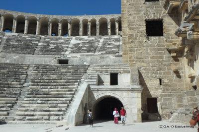 Aspendos la ville greco-romaine possède un théâtre accueillant de nombreux spectacles en été (c) G.A.-D..