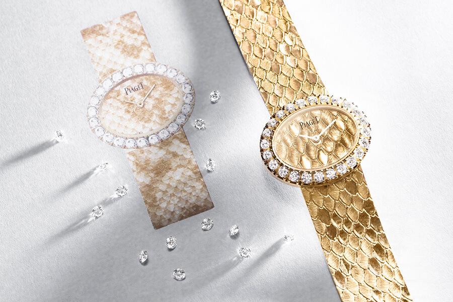 Piaget montre Extremely Lady cadran et bracelet travaillés en or style vintage lunette sertie de diamants