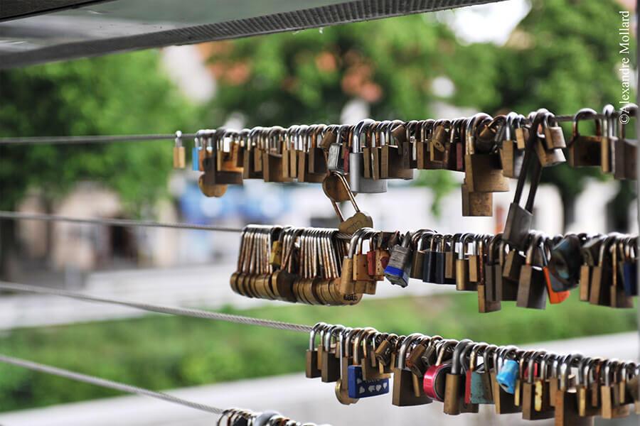 Ljubljana possède aussi une collection de cadenas gage d'amour