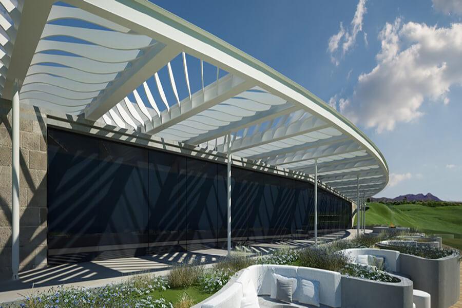 Costa Navarino le Club House du parcours de golf The Bay Course