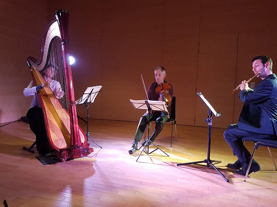Isabelle Marie ex harpiste de l´Opéra de Lyon, Garth Knox et le flutiste Roy Amotz