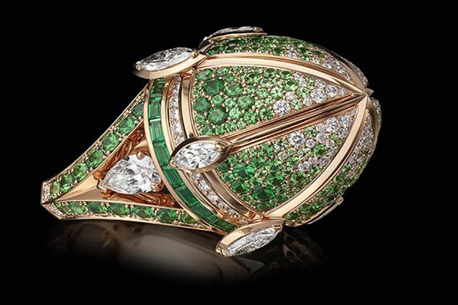 Charles Zuber Bague Pomander Diamants emeraudes tsavorites