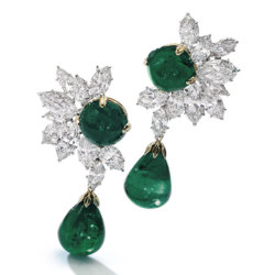 Boucles d'oreilles emeraude et diamant Harry Winston - Magnificent Jewels and Noble Jewels Sotheby's Geneva 2019