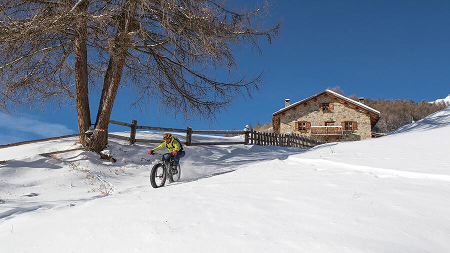 Livigno sortie en vélo Fat Bike sur la neige fraîche (c) Roby Trab