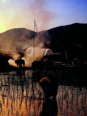 Panorama de rizière longeant le Pont de la Rivière Kwai