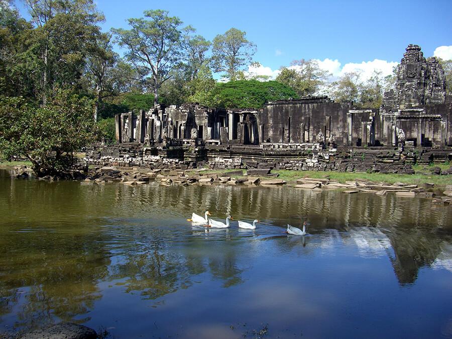 Bassins et plans d'eau entourent les vestiges historiques