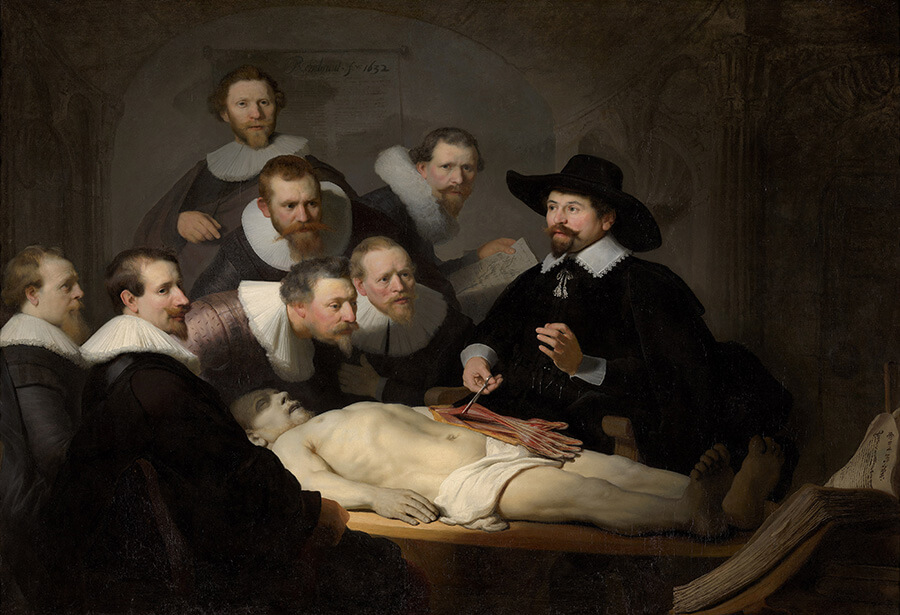 Le célèbre tableau de Rembrandt La leçon d'anatomie du Dr. Nicolaes Tulp (1632)