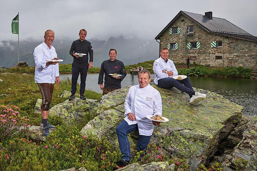 Les 5 grands Chefs participant à l'édition 2020 du Chemin Culinaire de St. Jacques au Friedrichshafnerhütte