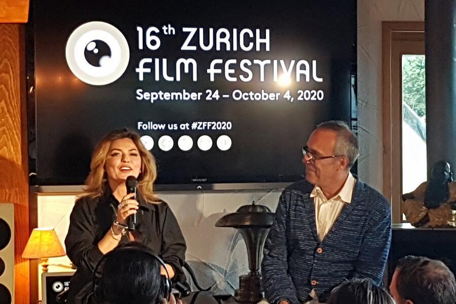 L'artiste Shania Twain et Thierry Amsallem Président du Claude Nobs Foundation
