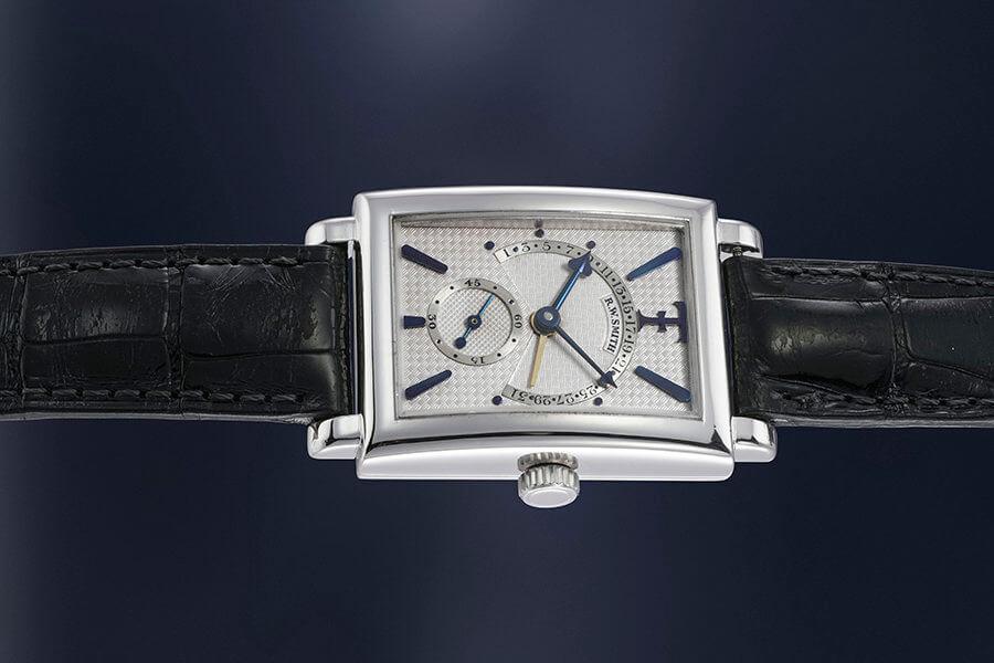 Roger Smith montre-bracelet rectang ulaireen or blanc date rétrograde Lot 145