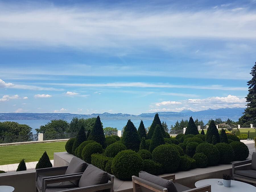 Vue sur le Lac Léman en face de Lausanne depuis la terrasse de l'Hôtel Royal (c) GAD