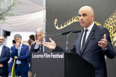 Cérémonie d'ouverture du 74e Locarno Film Festival par Alain Berset, Conseiller fédéral Chef du Département fédéral de l'intérieur © Massimo Pedrazzini